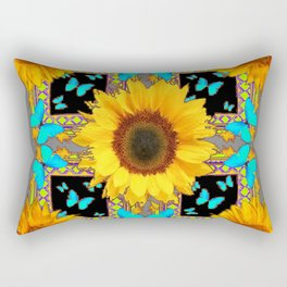 Southwest Sunflowers & Turquoise Butterflies Grey Art Rectangular Pillow