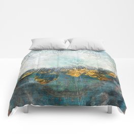 Lapis - Contemporary Abstract Textured Floral Comforters