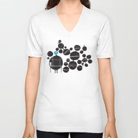 robot V-neck T-shirts featuring robot by alex eben meyer