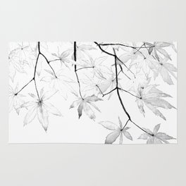 black and white maple leaves Rug