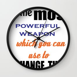 Educational quotation by nelson mandela Wall Clock