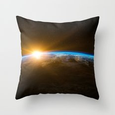 Space View Sunrise Throw Pillow