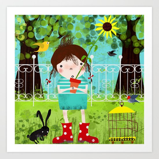 Emma in the Garden Art Print