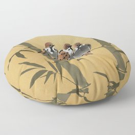 Three Sparrows In Bamboo Tree Floor Pillow