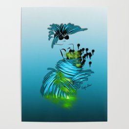Fashion model dancing the night away in turquoise Poster