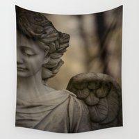 angel wings Wall Tapestries featuring Angel by Maria Heyens