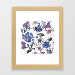 Octopus in blue ink Framed Art Print