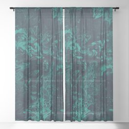 Teal Smoke - An Abstract Piece Sheer Curtain