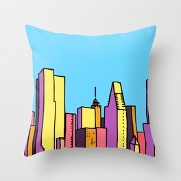 architecture art, new york city illustration, new york skyline, Throw Pillow