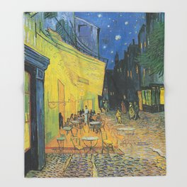 Vincent van Gogh - Cafe Terrace at Night Throw Blanket