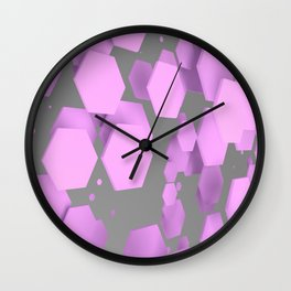 Purple hexagons on white Wall Clock