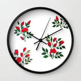 Red Roese ith buds floral Art Wall Clock