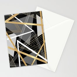 Original Gray and Gold Abstract Geometric Stationery Cards