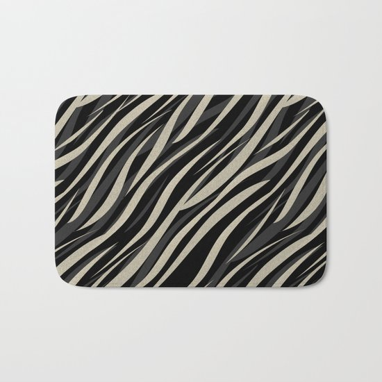 Tiger abstract striped pattern . Bath Mat
