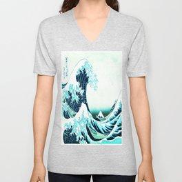 the great wave : aqua teal Unisex V-Neck