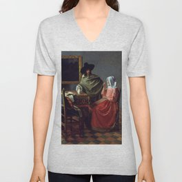 """Johannes Vermeer """"A Lady Drinking and a Gentleman"""" Unisex V-Neck"""