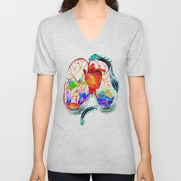 Breathe it in // anatomical lungs illustration Unisex V-Neck