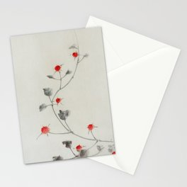 Small Red Blossoms - Hokusai Stationery Cards