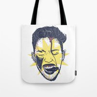 miley Tote Bags featuring Licking Miley by Kristine Larsen