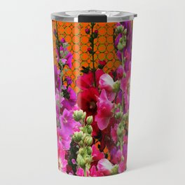 SPICE BROWN  PINK HOLLYHOCKS GARDEN Travel Mug