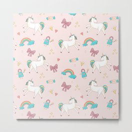 UNICORNS AND RAINBOWS Metal Print