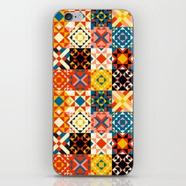 Maroccan tiles pattern with red an blue no2 iPhone Skin