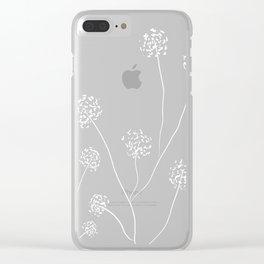 Dandelions flowers illustration on beige kraft Clear iPhone Case