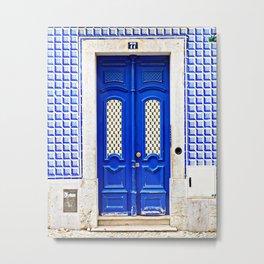 Portugal Door Photography, Blue Door, Portuguese Azulejo, Lisbon Tiles Metal Print