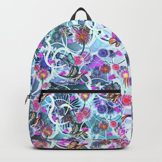 Dahlias And Vines Pattern Backpack