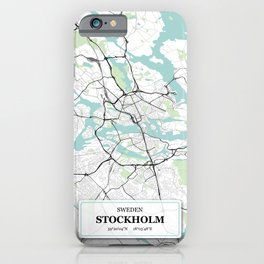 Stockholm Sweden City Map with GPS Coordinates iPhone Case