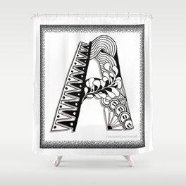 Zentangle A Monogram Alphabet Initials Shower Curtain