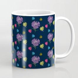 Amaryllis and carnation floral pattern on dark blue Coffee Mug