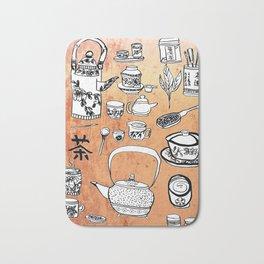 Chinese Tea Doodles 2 Bath Mat