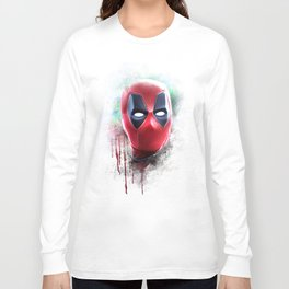 dead pool abstract watercolor portrait painting | Original Fan Art Long Sleeve T-shirt