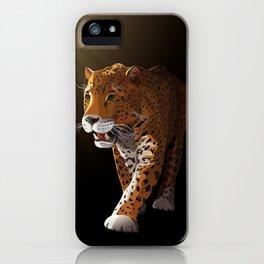 Jaguar in darkness, moonlight - vector iPhone Case