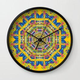 Happy fantasy earth mandala Wall Clock