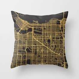 VANCOUVER CANADA GOLD ON BLACK CITY MAP Throw Pillow