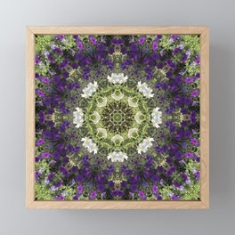 Icy White and Rich Violet Petunias Kaleidoscope Framed Mini Art Print