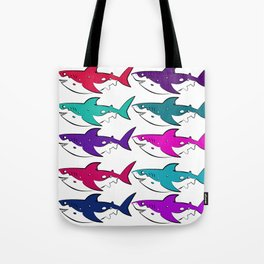 In Which Sharks Tote Bag
