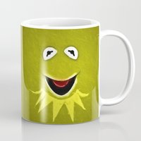 kermit Mugs featuring Kermit The Frog by DisPrints