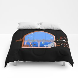 Our Hero Approaches (Black Background) - Mario Bros. Comforters