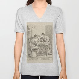 Vintage Print - Giuseppe Mitelli - A Lazy Man Losing Money on Cards and Dice (1683) Unisex V-Neck