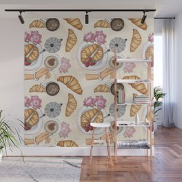 Good Morning Strawberries, Croissants And Coffee Pattern Wall Mural