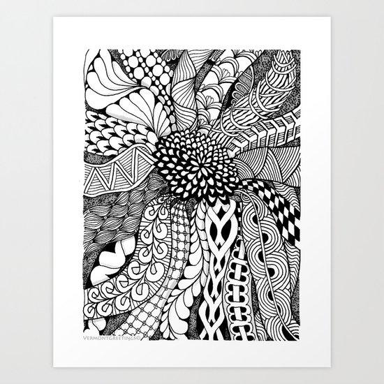 Zentangle Black and White Summer Sunflower  Art Print