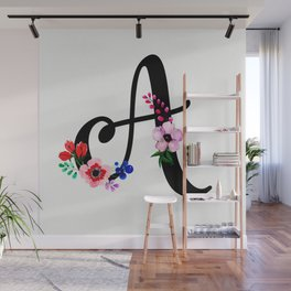Letter A Watercolor Floral Background Wall Mural