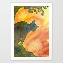 Forest Sunset Cat Art Print