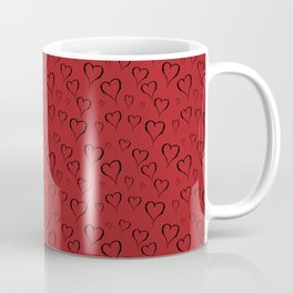 Black drawn hearts on red background Coffee Mug