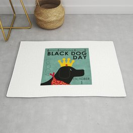 Black Dog Day Royal Crown Rug