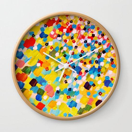 SWEPT AWAY 2 - Vibrant Colorful Rainbow Mango Yellow Waves Mermaid Splash Abstract Acrylic Painting Wall Clock