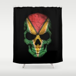 Dark Skull with Flag of Guyana Shower Curtain
